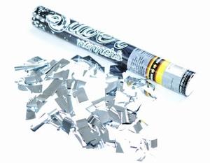 Handmatige Confetti Shooter 40 cm Metallic Zilver