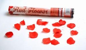 Handmatige Confetti Shooter 40 cm rode rozenblaadjes